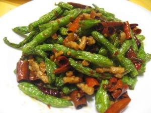 A favorite; Sichuan chilli fried green beans