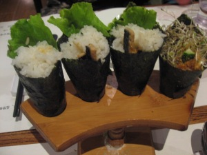 3 vegetarian eel & 1 sprout temaki sushi