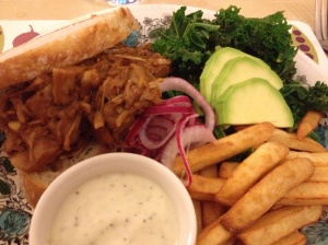 BBQ pulled-jack fruit on toasted sourdough with pickled onion, kale, fries and ranch dressing!
