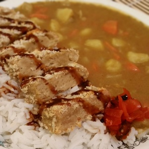 My Curry Rice with vegan tonkatsu and pickled ginger